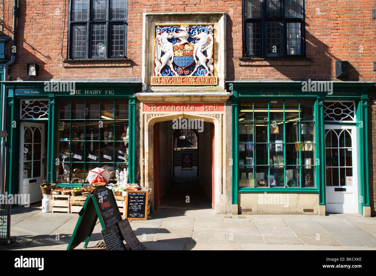 Merchant Adventurers Hall Entrance on Fossgate York Yorkshire UK - Stock Image