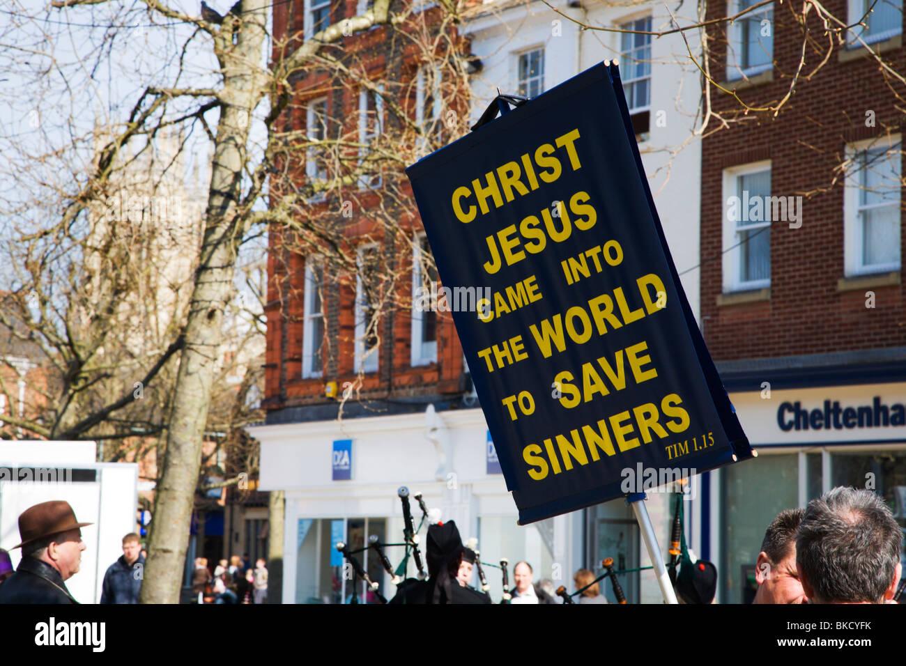 Christ Jesus Came Into The World To Save Sinners Placard York Yorkshire UK - Stock Image