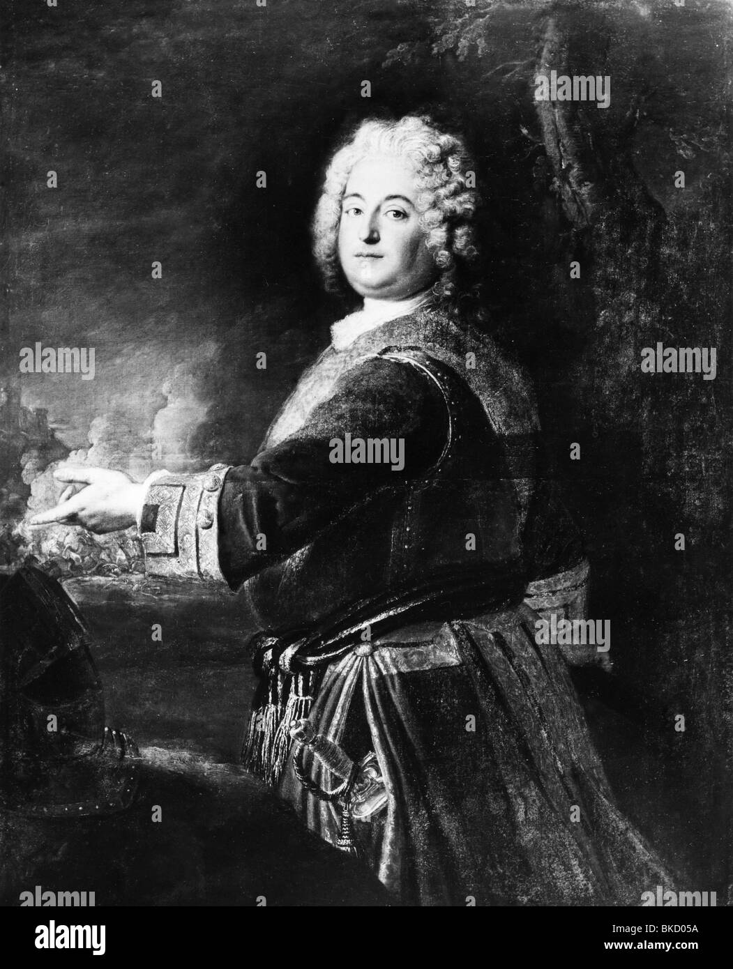 Christian Ludwig, 14.3.1677 - 3.9.1734, margrave of Brandenburg-Schwedt, half length, painting by Antoine , Additional - Stock Image