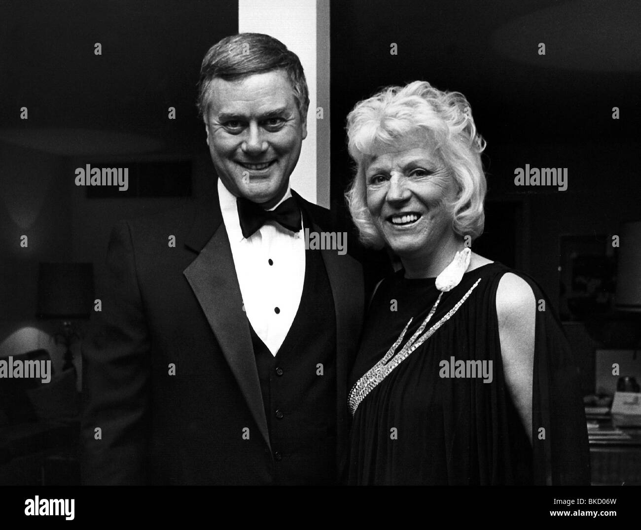 Hagmann, Larry, 21.9.1931 - 23.11.2012, US actor, half length, with his wife Maj Alexsson, Munich, Hotel Four Seasons - Stock Image