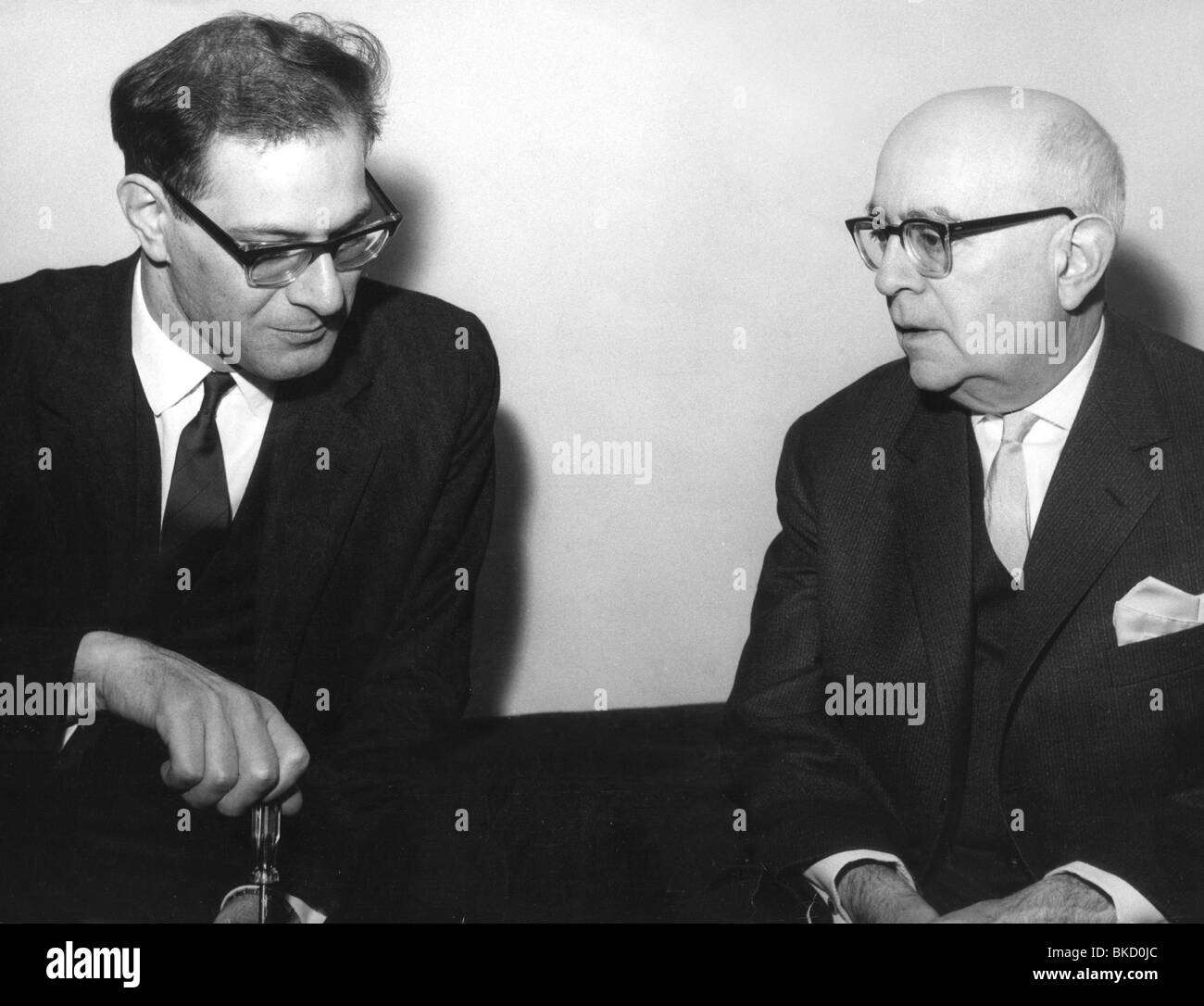 Adorno, Theodor, 11.9.1903 - 6.8.1969, German musicologist, sociologist, philosopher, half length (right), with - Stock Image