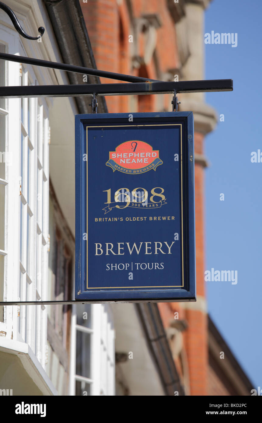 A sign for brewery tours and shop Stock Photo