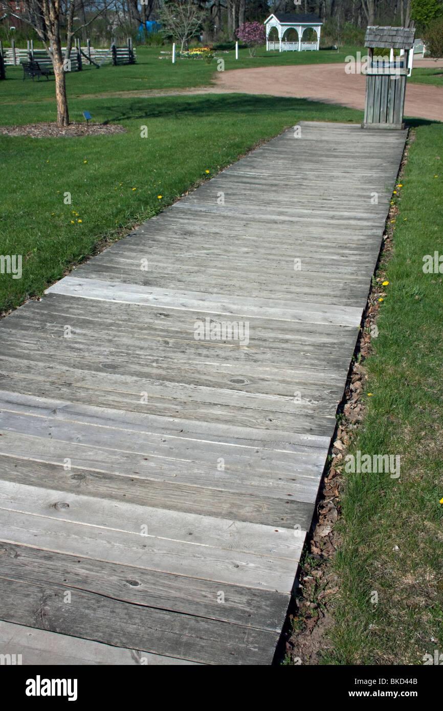Wooden sidewalk Historic Village  ca 1888 Corunna Michigan USA, by Dembinsky Photo Assoc - Stock Image