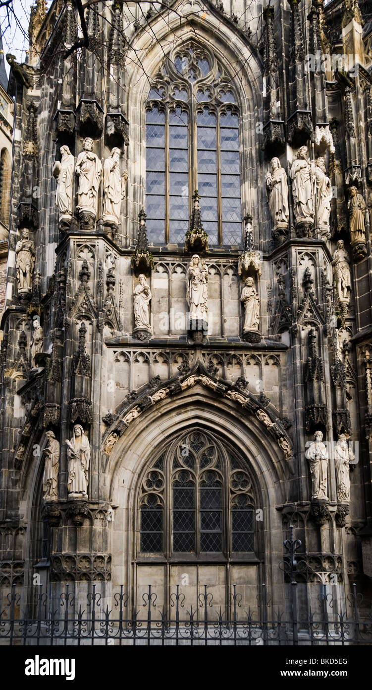 Southern wall of Aachen Cathedral. Aachen, North Rhine-Westphalia, Germany. Stock Photo