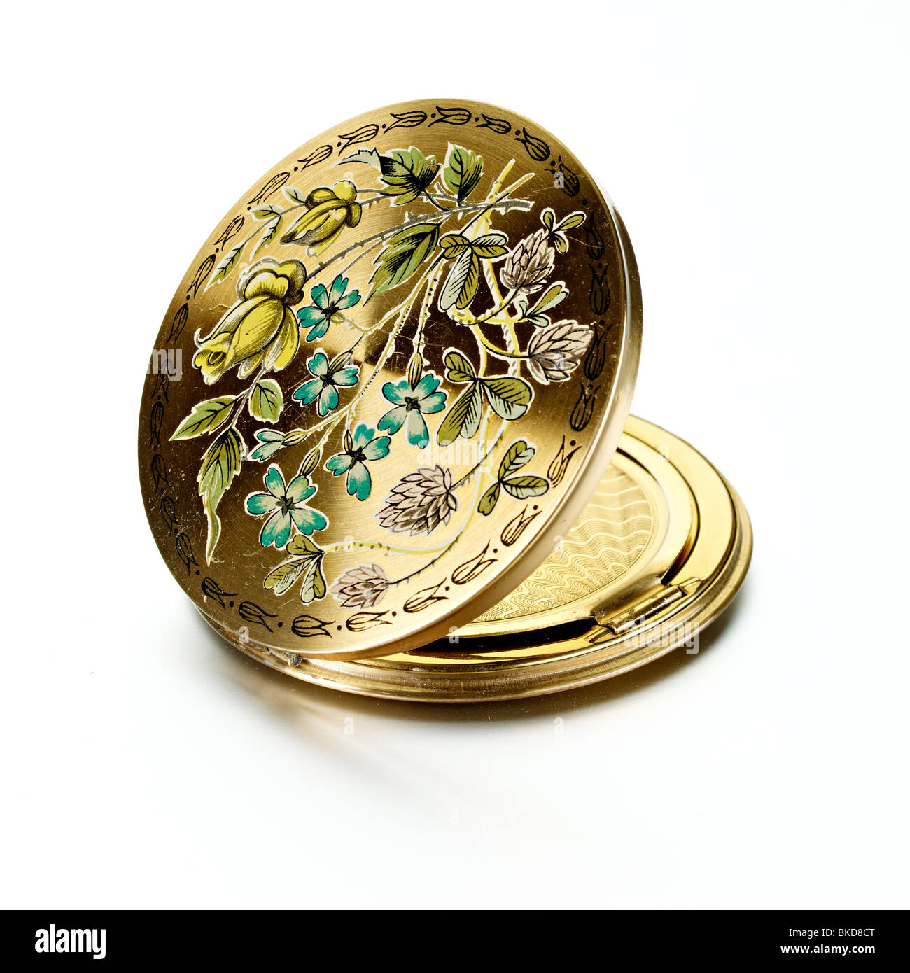 antique etched compact flowers - Stock Image