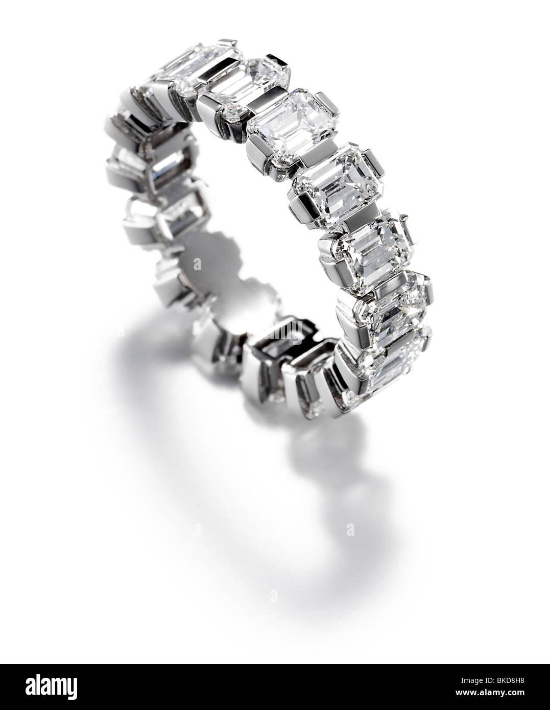 large baguette diamond eternity ring Stock Photo