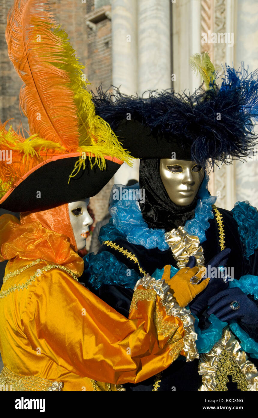 Two Carnival participants wearing costumes in Venice, Italy Stock Photo