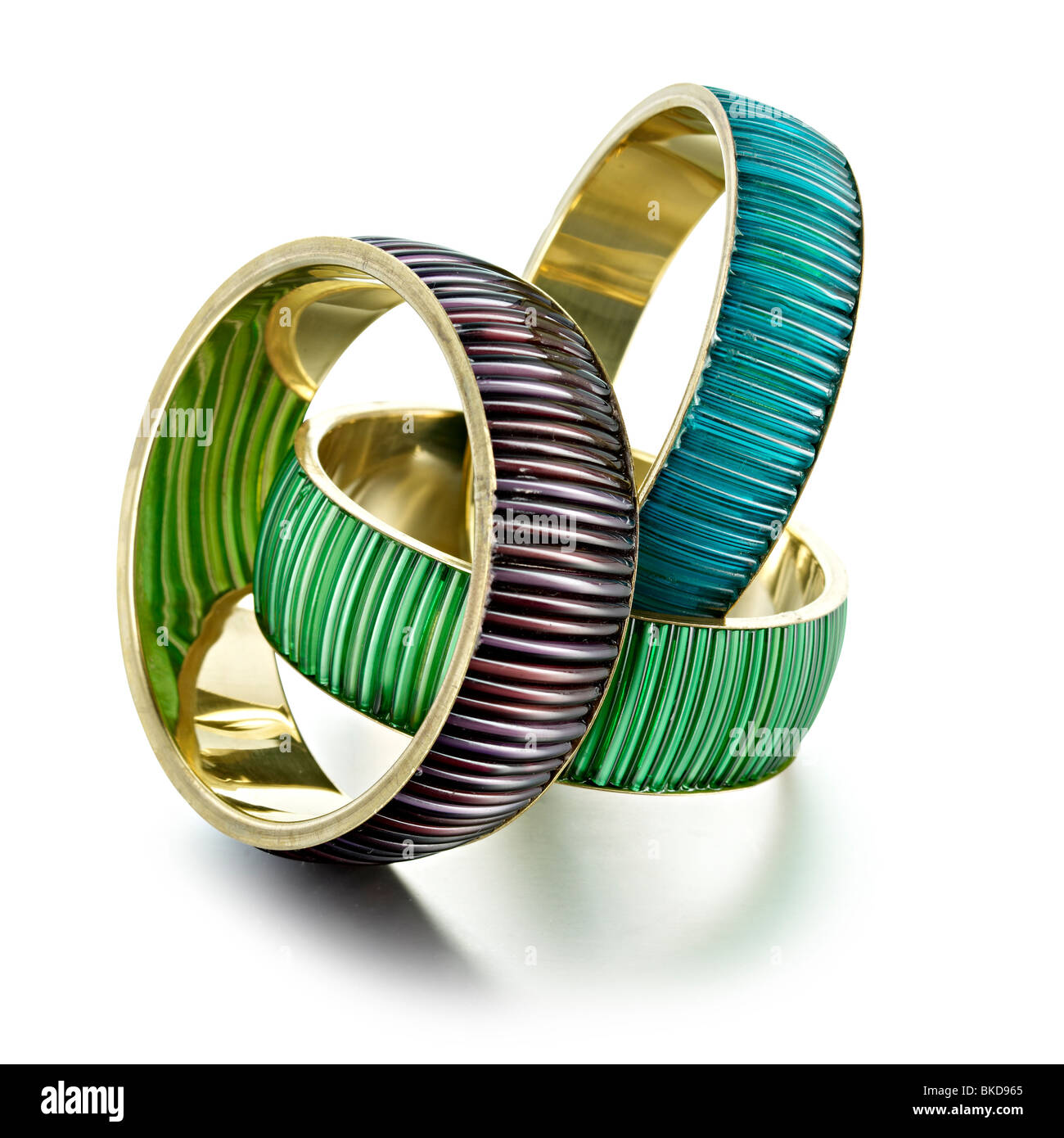 3 colored bangles - Stock Image
