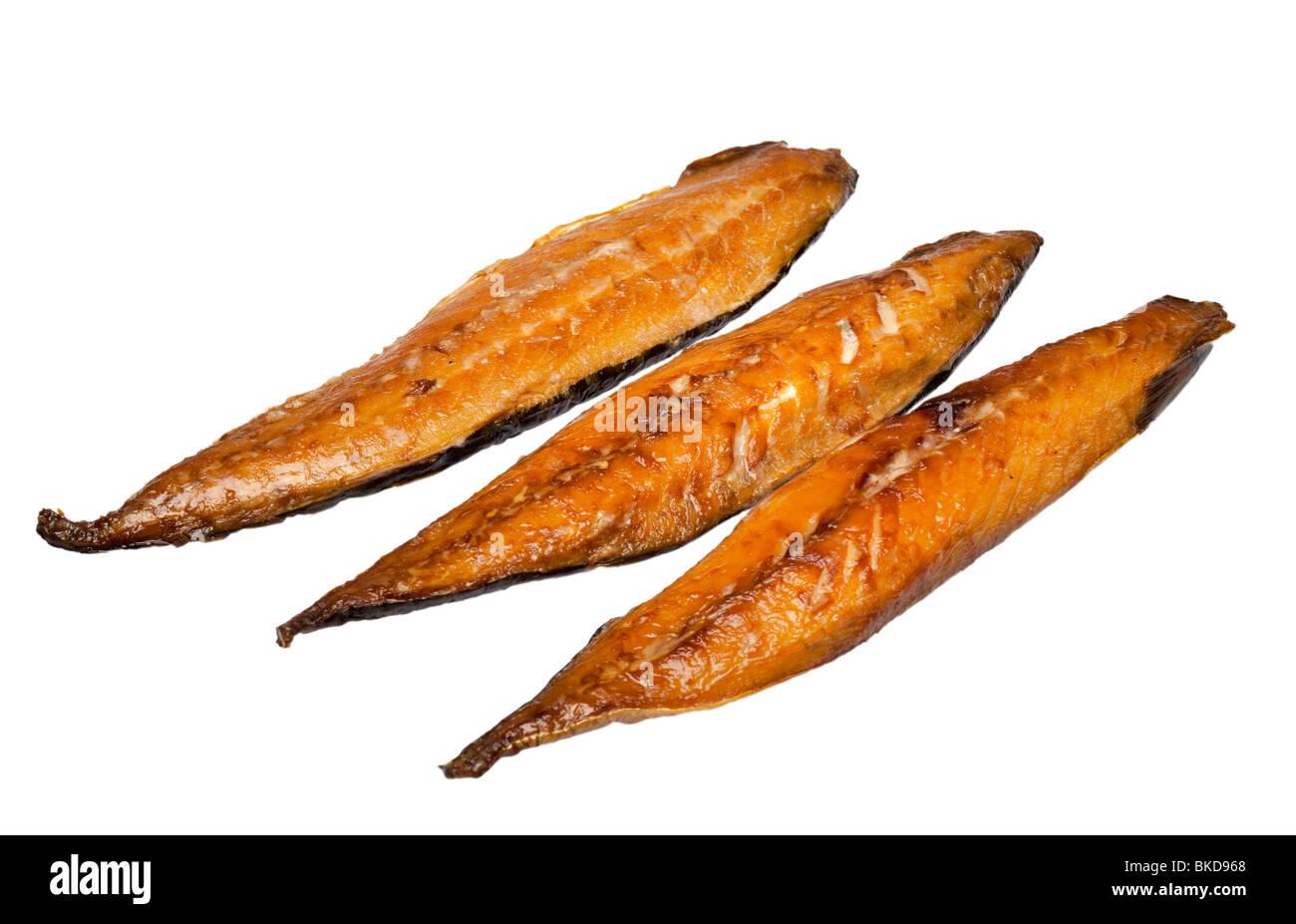Smoked mackerel fillets on white - Stock Image