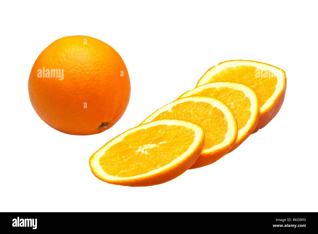 Oranges whole and sliced on white - Stock Image