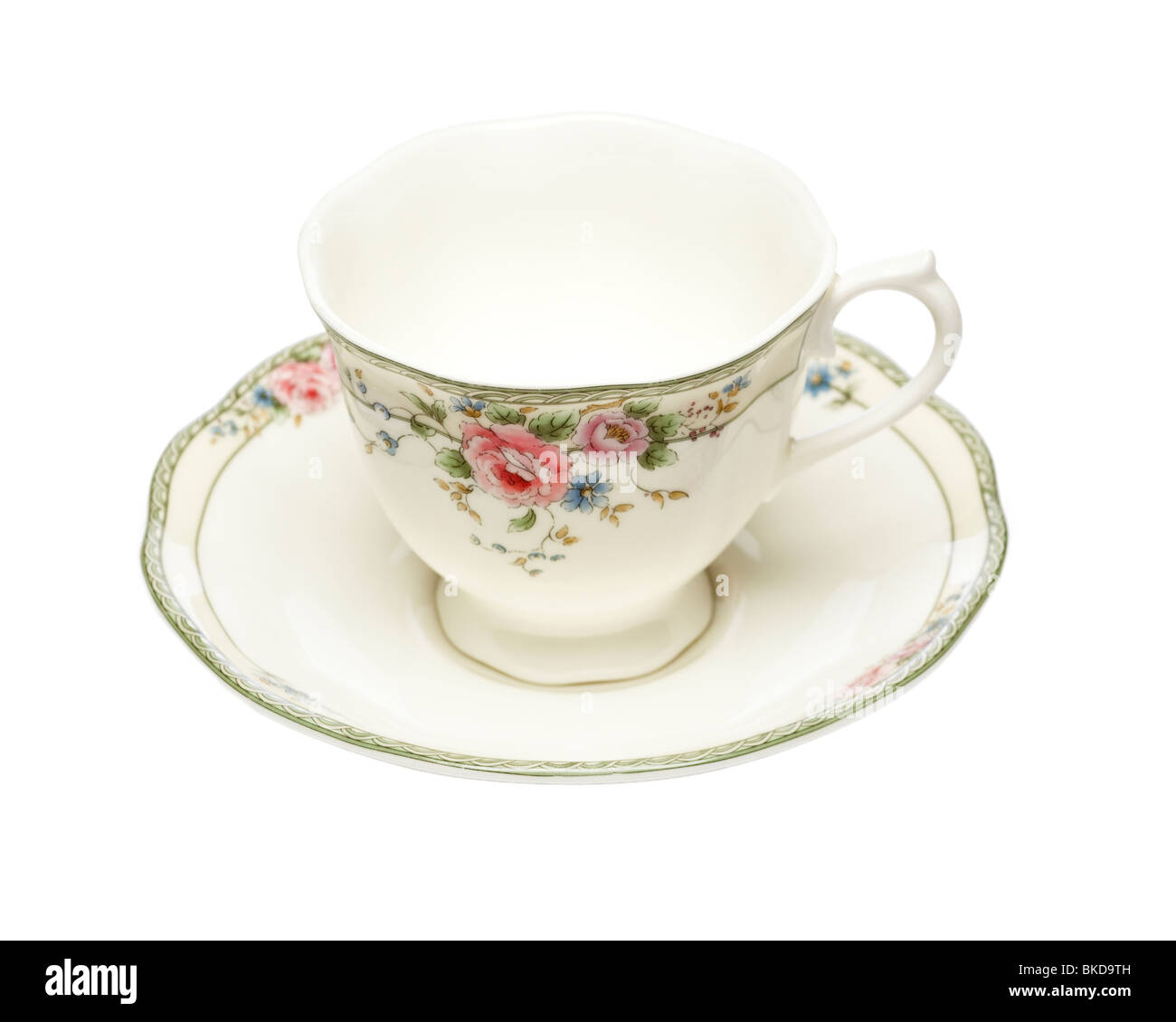 Empty fine bone china decorated cup and saucer - Stock Image