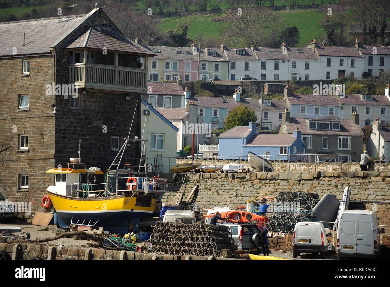 New Quay, a small village town on Cardigan Bay, once the home of Dylan Thomas, Ceredigion, Wales UK Stock Photo