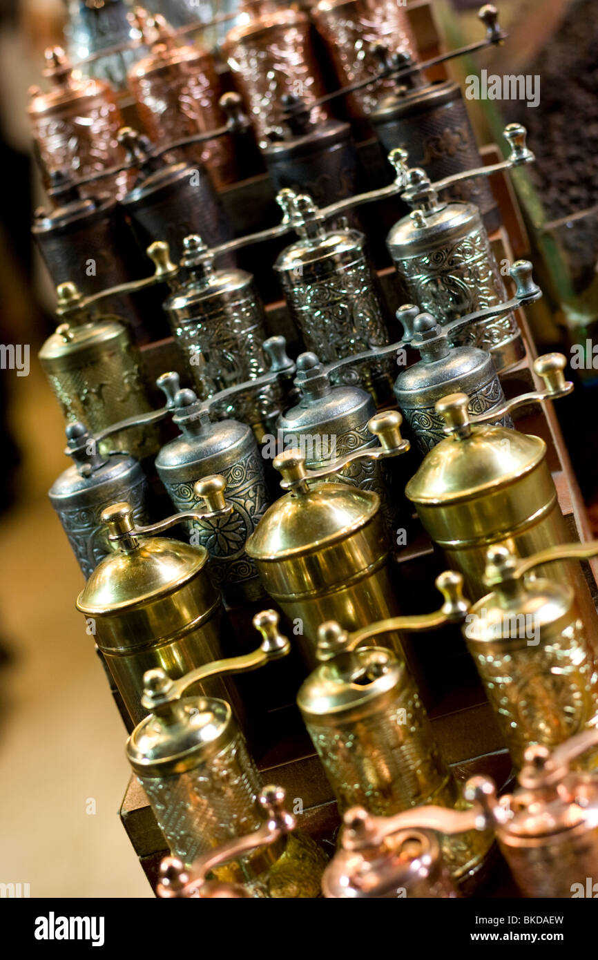 Spice grinders for sale at the Egyptian Bazaar in Istabul - Stock Image