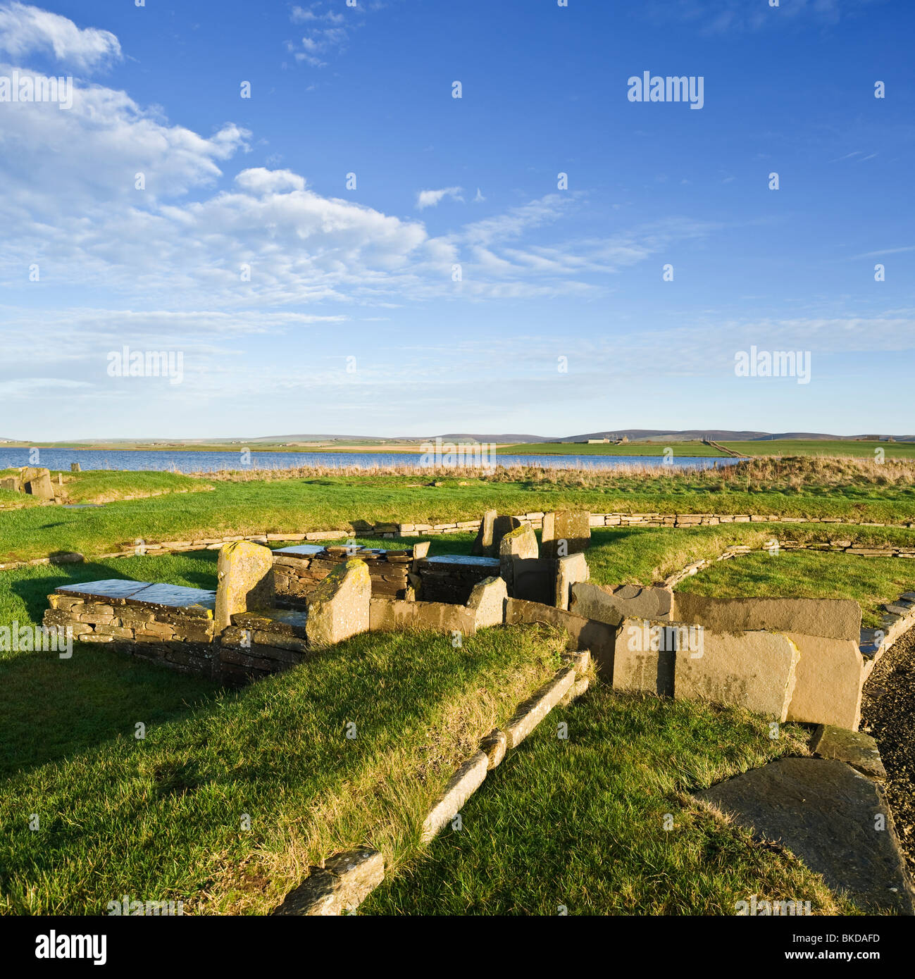 The Barnhouse Settlement Neolithic village, Loch of Harray, Orkney, Scotland - Stock Image