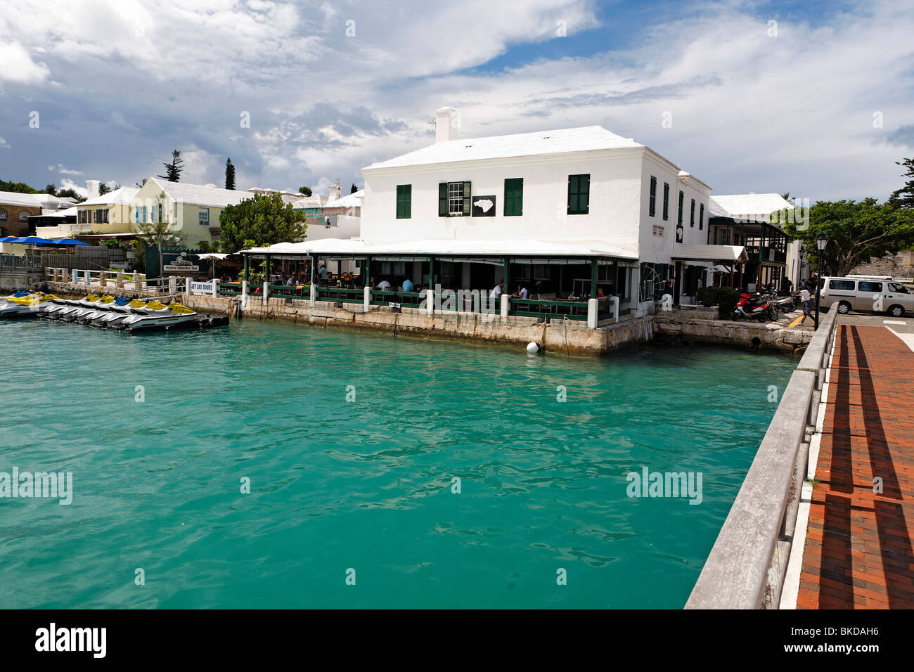 Bayside View of the White Horse Restaurant and Pub, St George, Bermuda - Stock Image