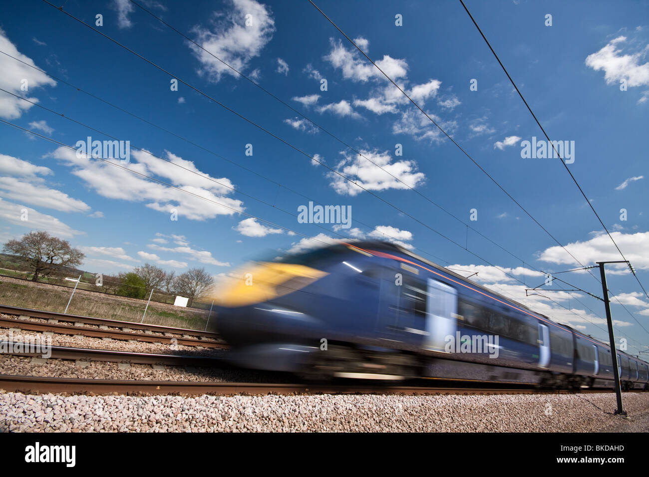 High Speed Train Class 395 on route from Ashford to St Pancras - Stock Image