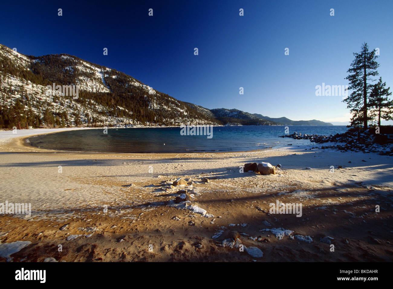 Sand Bay Beach Winter Scenic, Lake Tahoe, Nevada Stock Photo