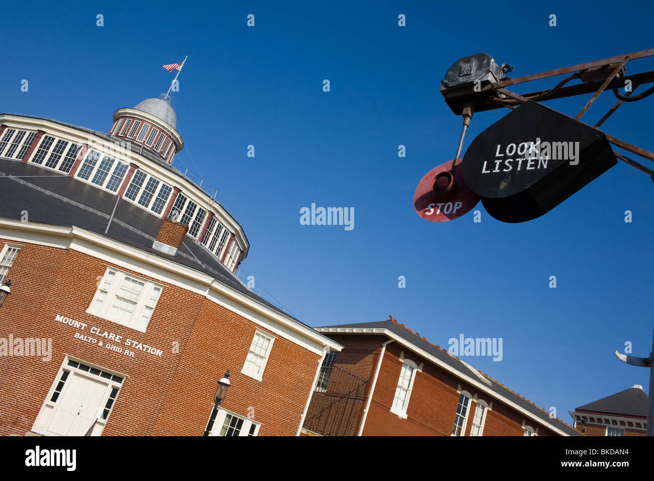 Baltimore and Ohio Railroad Museum in Mt. Clare Shops, oldest collection in world, Baltimore Maryland - Stock Image