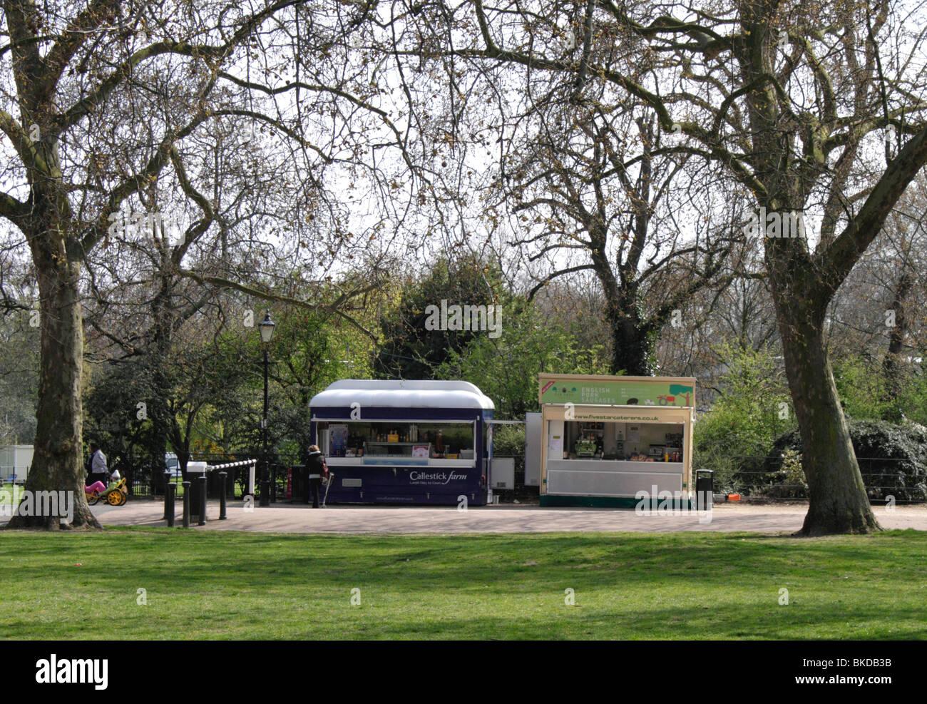 Refreshment kiosks at Battersea Park London Spring 2010 Stock Photo