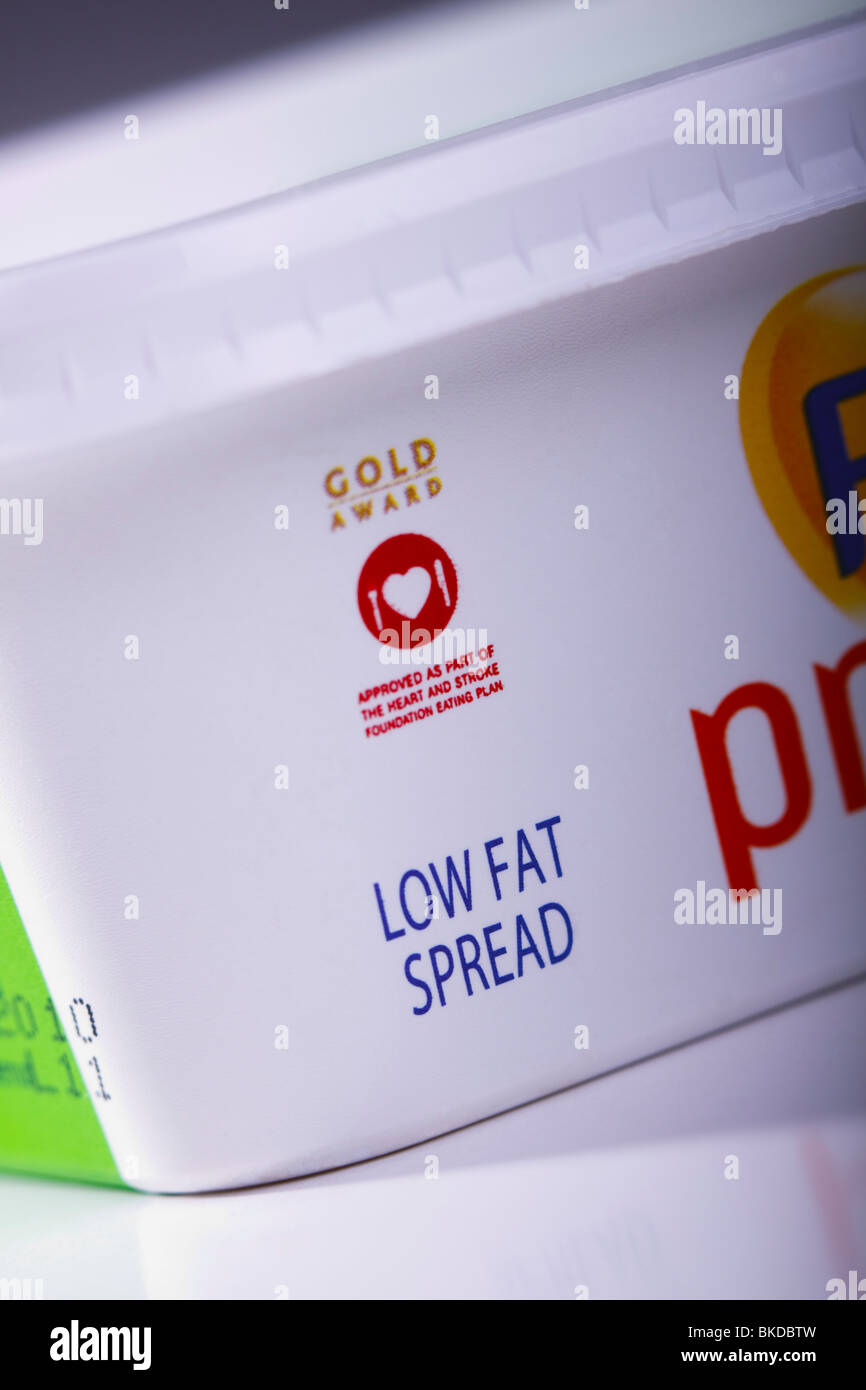 A tub of margarine advertised as low fat and approved by the Heart Foundation. - Stock Image