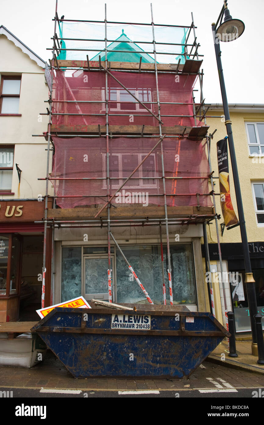 Shop premises with flats above being renovated in South Wales Valleys town of Brynmawr - Stock Image