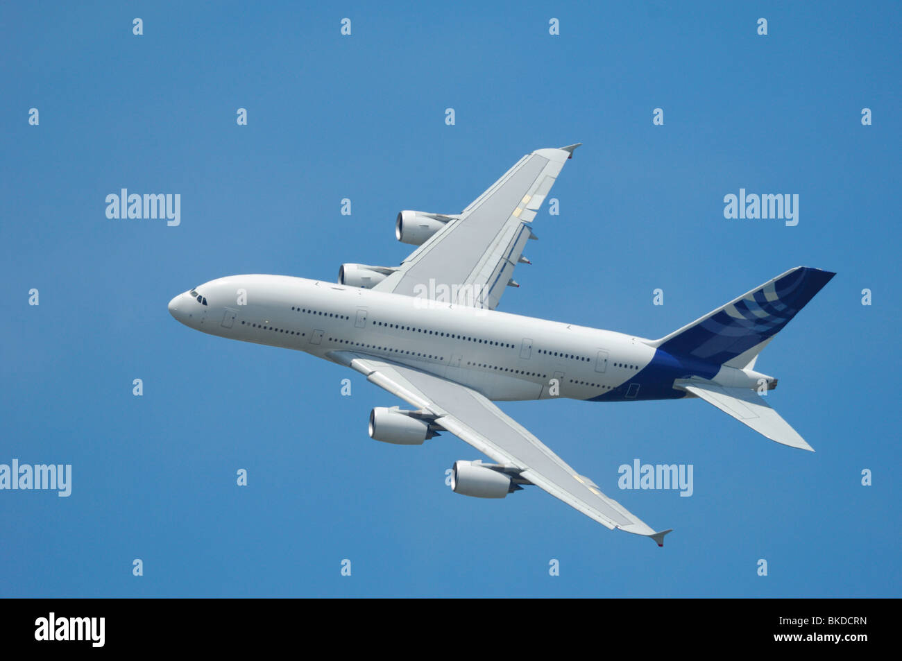 Airliner Airbus A380 flying during 48th Paris International Air show - Le Bourget airport - Stock Image