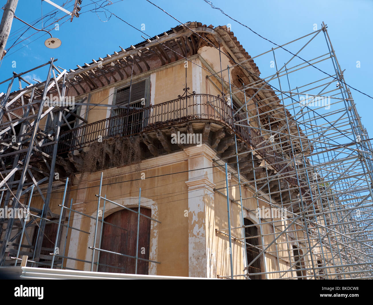 Awesome Scaffolding In Building Restoration In The Historical Center Of Trinidad,  Cuba   Stock Image