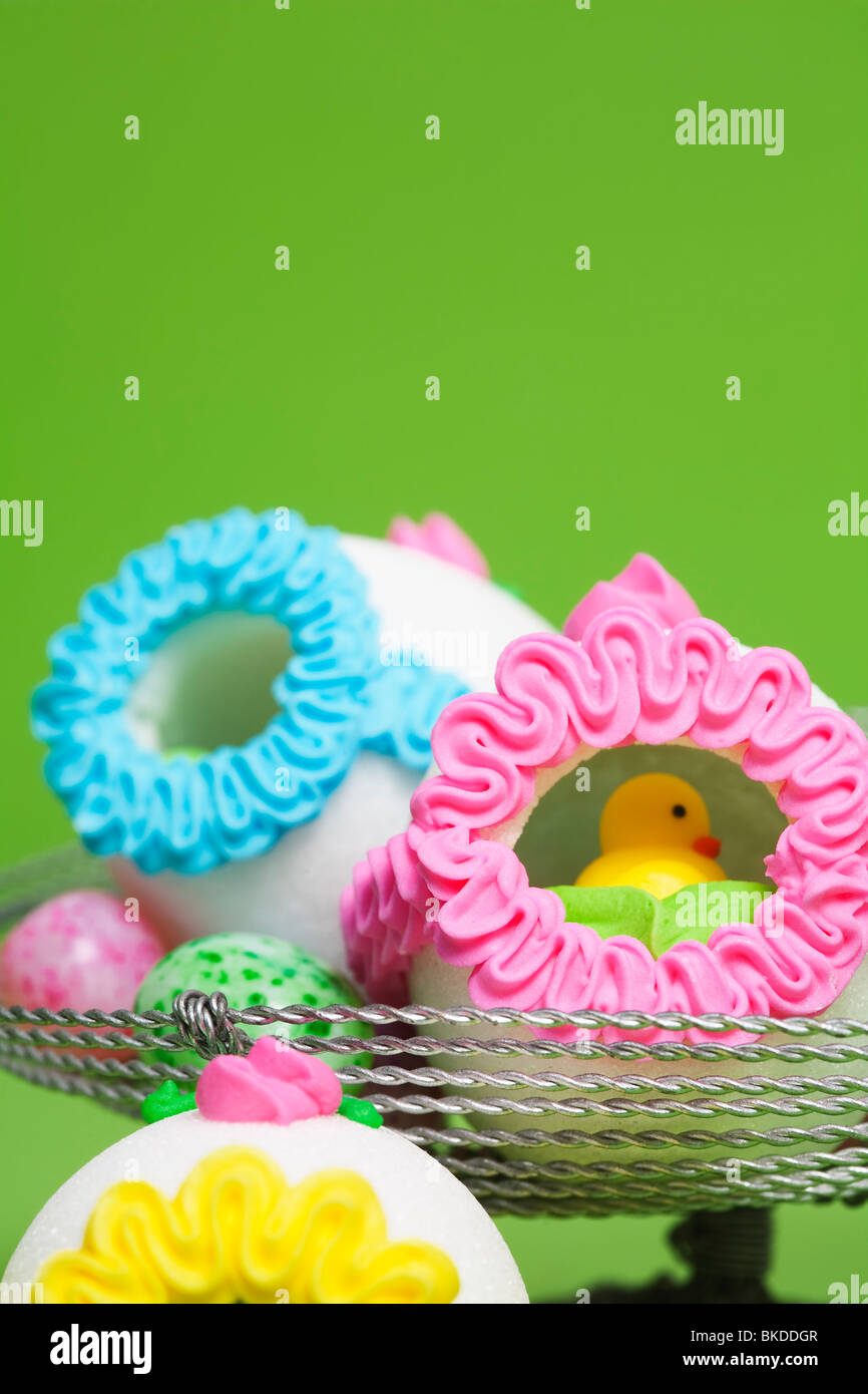Easter Candy  eggs made of sugar with little animals inside - Stock Image