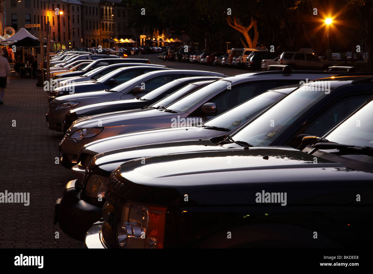 Evening Light on Row of Parked Cars, Salamanca Place, Hobart, Tasmania, Australia - Stock Image