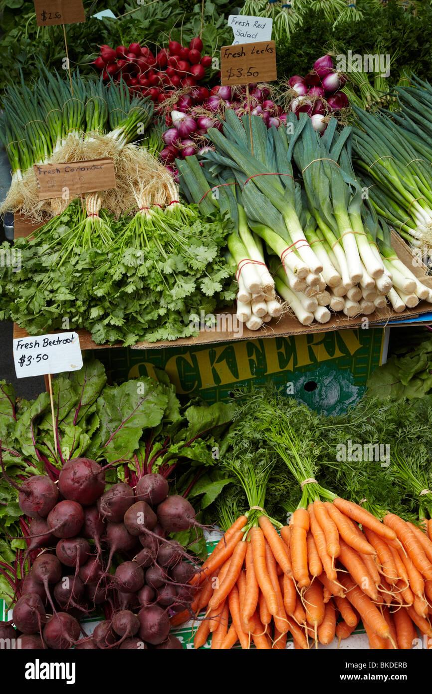 Vegetable Stall, Saturday Market, Salamanca Place, Hobart, Tasmania, Australia - Stock Image