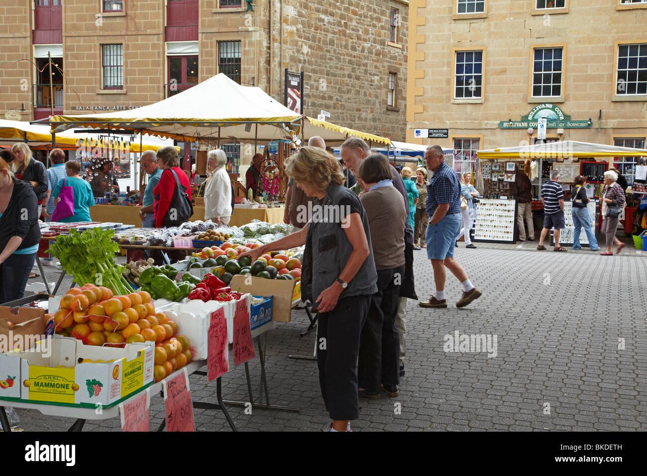 Produce Stall, Saturday Market, Salamanca Place, Hobart, Tasmania, Australia - Stock Image