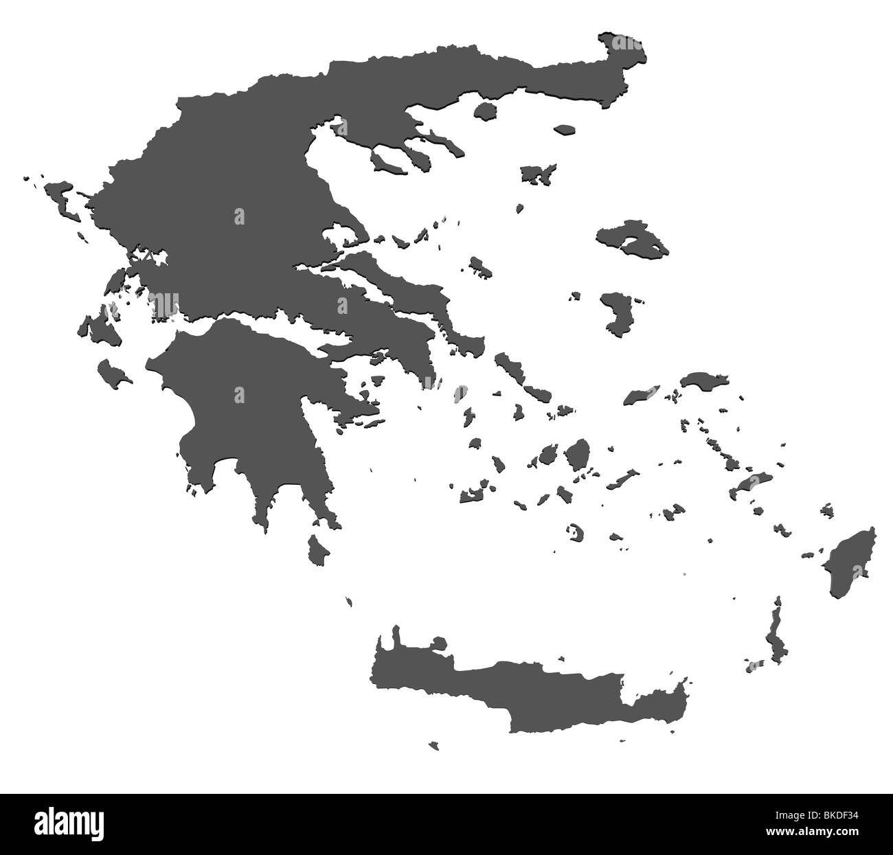 Greece Map Blank.3d Rendered Blank Map Of Greece Without Shadow Stock Photo 29186056