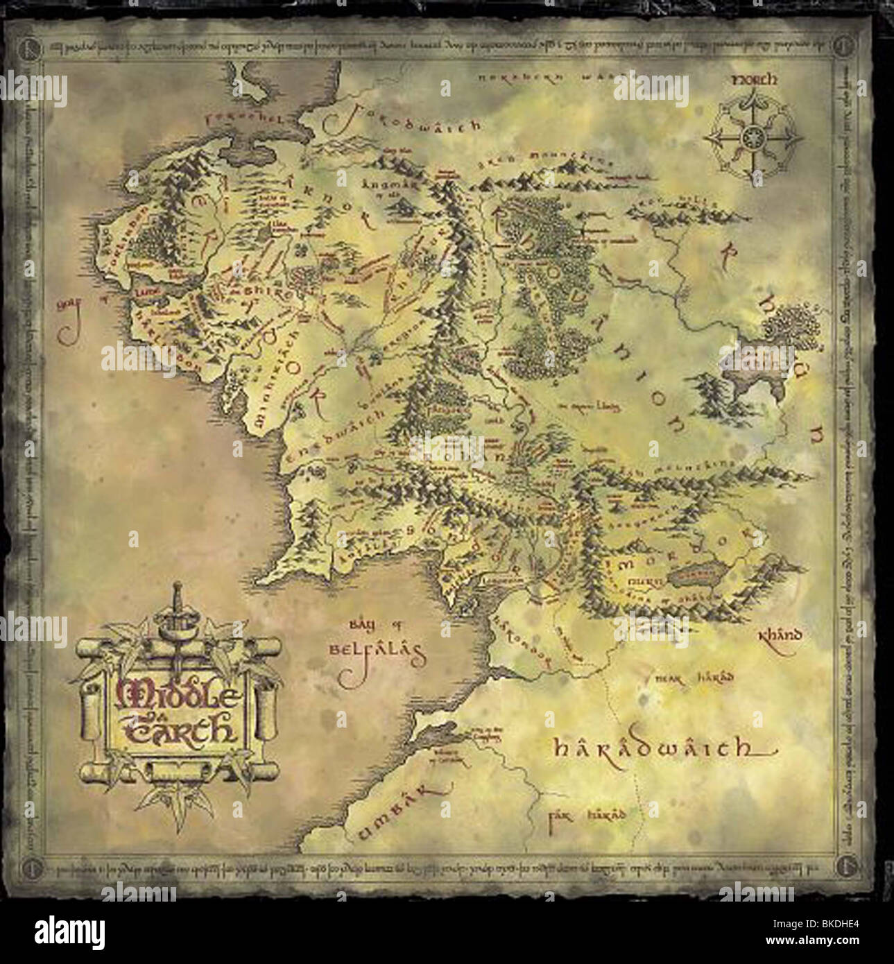 THE LORD OF THE RINGS: THE FELLOWSHIP OF THE RING (2001) FOTR 002-MAP - Stock Image