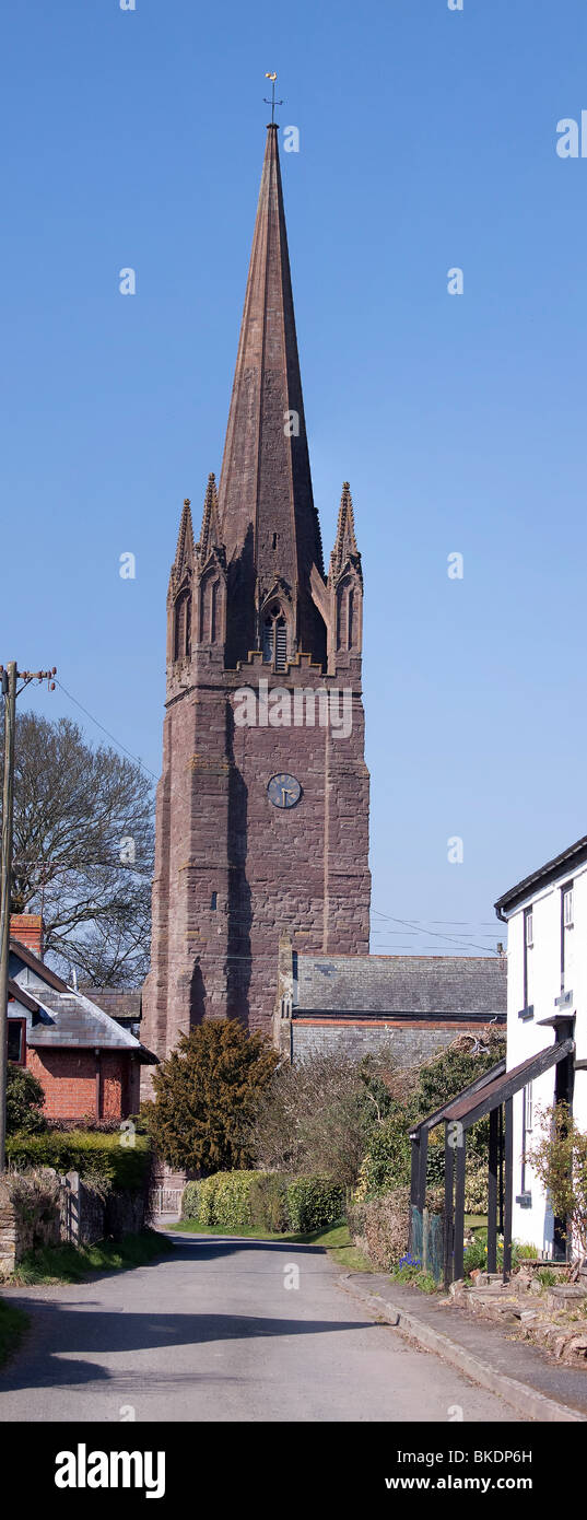 Verical stitched photograpgh of Weobley Church in Herefordshire near to Leominster - Stock Image