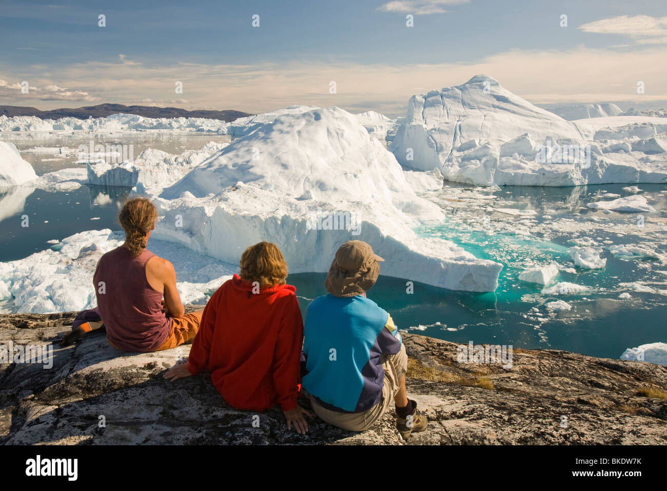 Icebergs from the Jacobshavn glacier or Sermeq Kujalleq drains 7% of the Greenland ice sheet - Stock Image