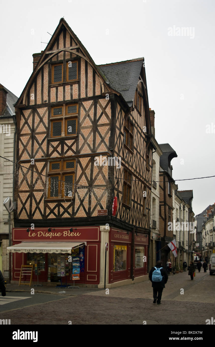 Medieval  houses in Tours, France Stock Photo