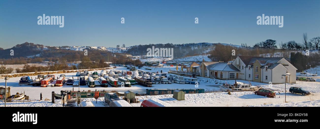 Auchinstarry Marina, Kilsyth, in Winter - Stock Image