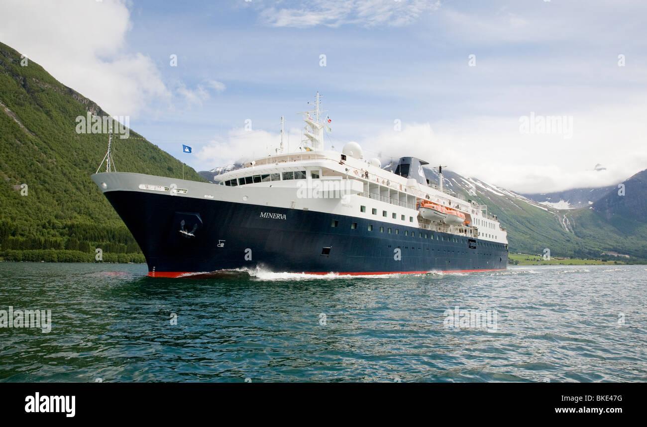 MV Minerva cruising the Norwegian Fjords - Stock Image