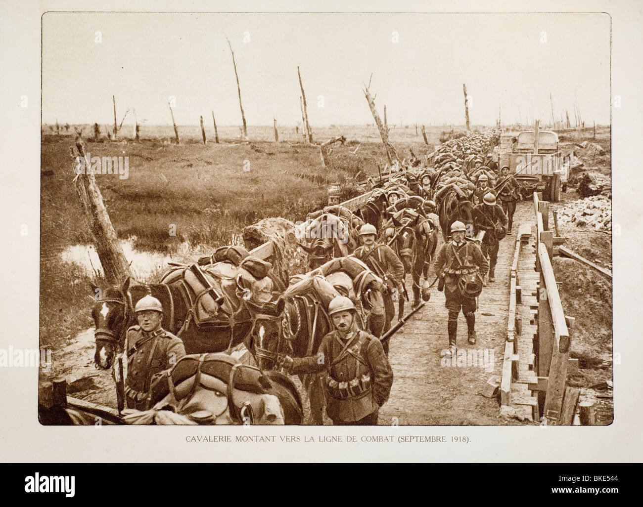 WW1 Belgian cavalry heading for battlefield through bombarded terrain in West Flanders during First World War One, - Stock Image