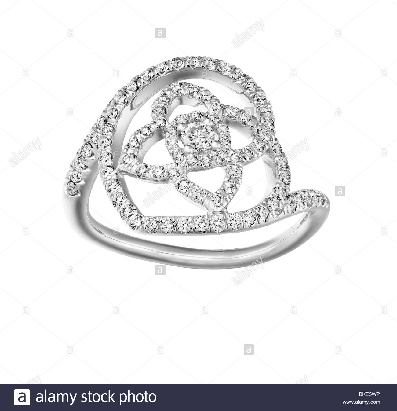 white gold and diamond ring - Stock Image