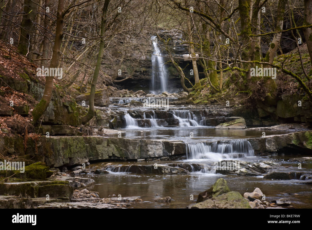 Summerhill Force and Bow Lee Back just below Gibson's Cave, Upper Teesdale. - Stock Image