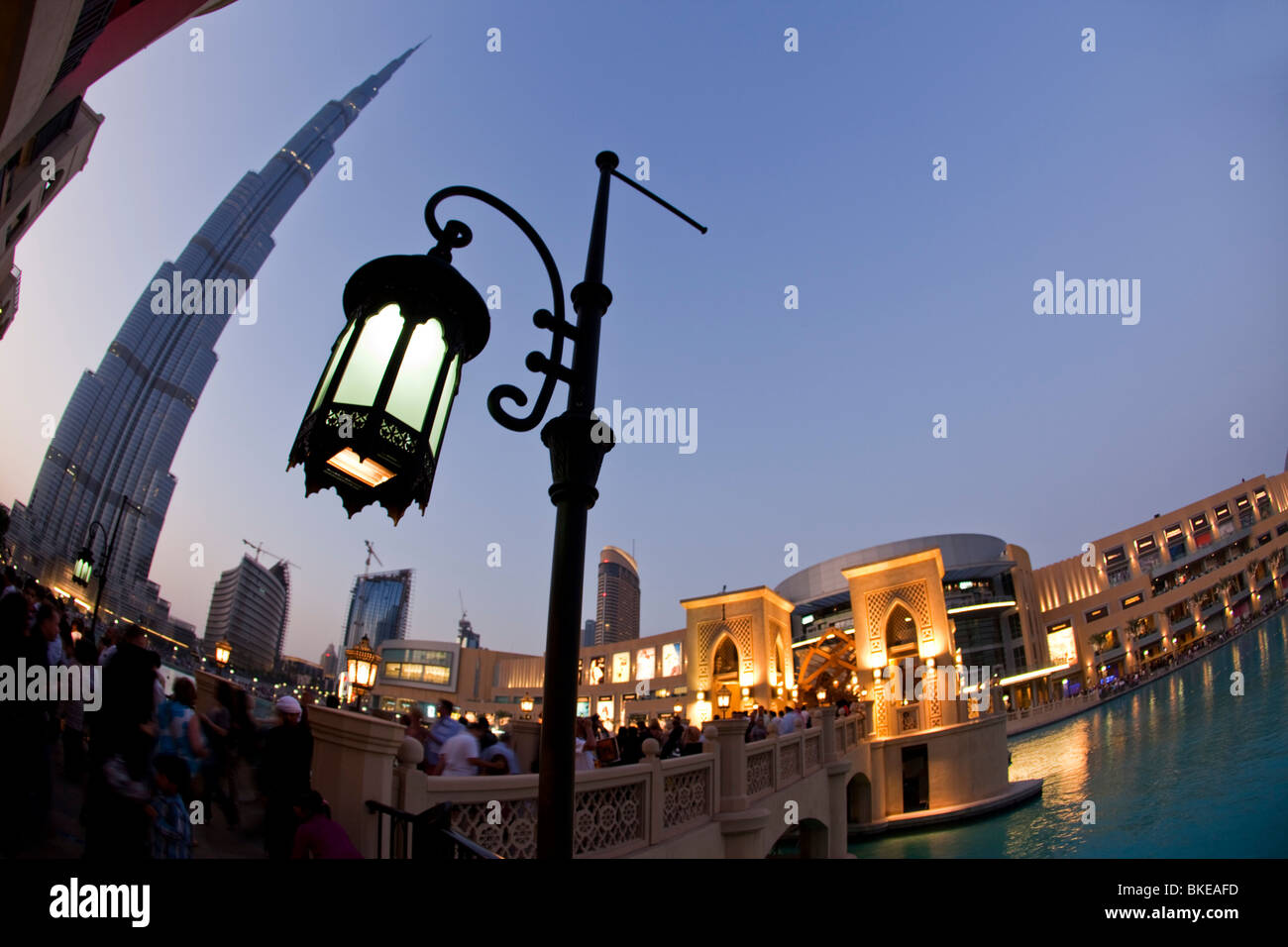 Burj Khalifa, highest Skycraper in the World, 828 meter, Burj Dubai, Dubai Mall, United Arab Emirates - Stock Image