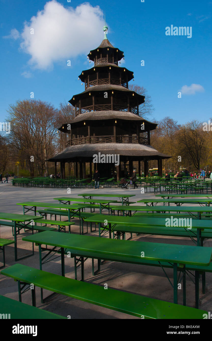 Chinese pagoda in the Englischer garten beer garden, Munich, Germany - Stock Image