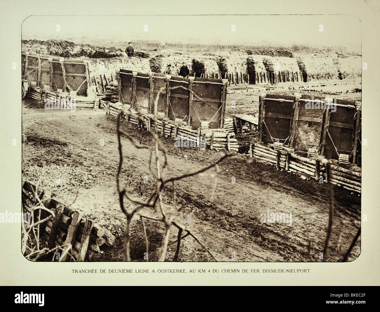 WW1 second defence line trench at Oostkerke in West Flanders during First World War One, Belgium - Stock Image