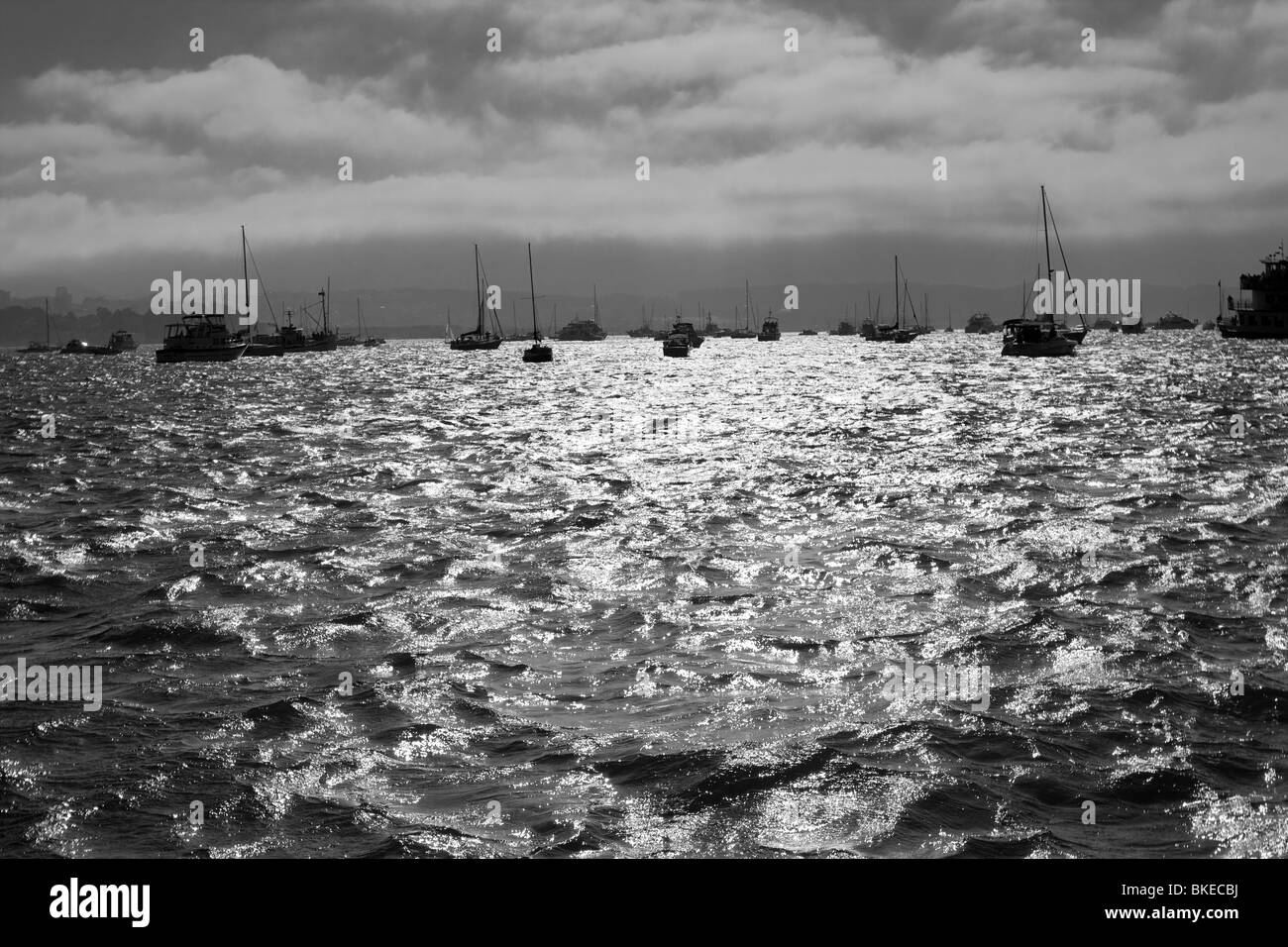 Many boats on the water in the horizon in San Francisco Bay - Stock Image