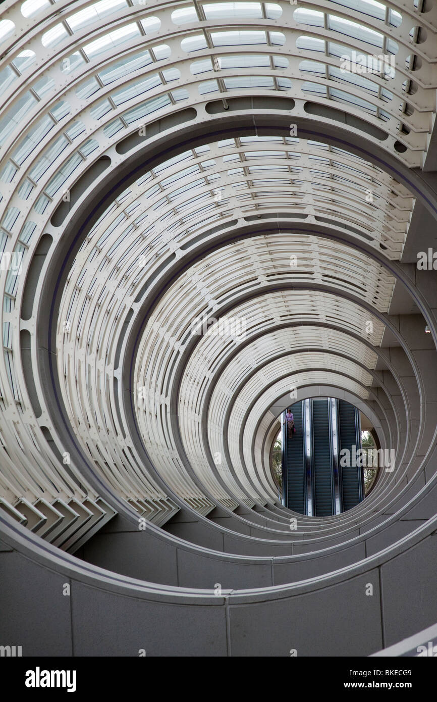 Concentric circles in the ceiling of the San Diego Convention Center atrium - Stock Image
