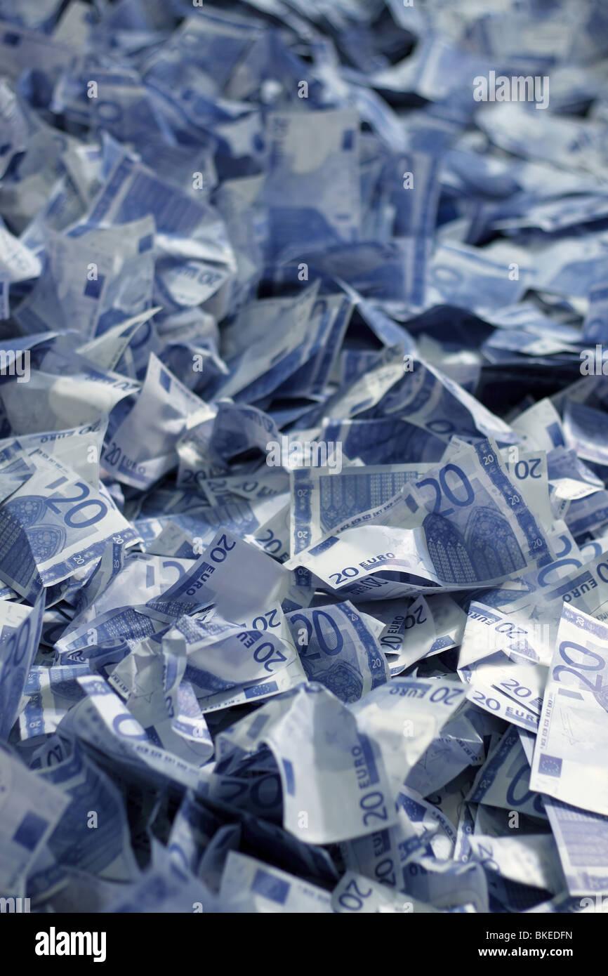 20 euro thousand many bank notes bills background - Stock Image