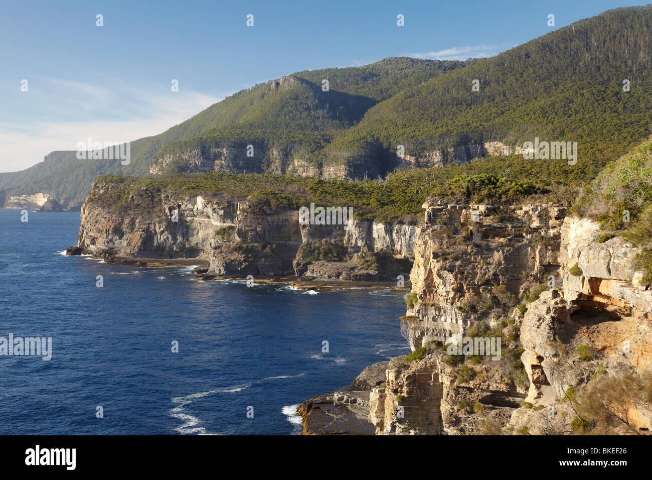 O'Hara Bluff and Tasman Sea, Tasman National Park, Tasman Peninsula, Southern Tasmania, Australia - Stock Image