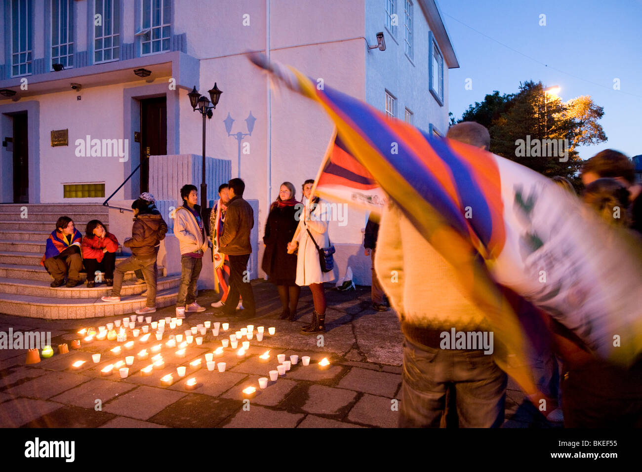 Tibetans and Icelanders join forces and protest against Chinese occupation in Tibet.  Chinese embassy, Reykjavik, - Stock Image