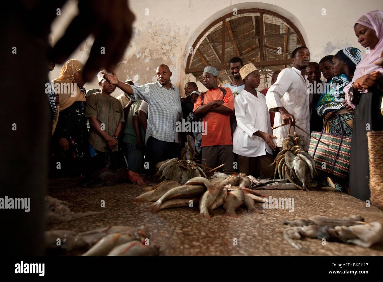 Fish auction - Stonetown, Zanzibar, Tanzania. - Stock Image